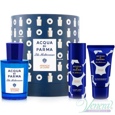 Acqua di Parma Blu Mediterraneo Arancia di Capri Set (EDT 75ml + BL 50ml + SG 40ml) pentru Bărbați Unisex Gift sets