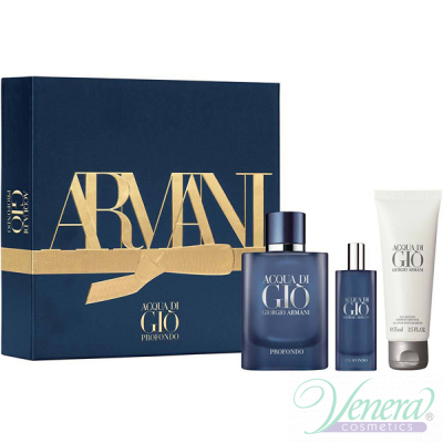 Armani Acqua Di Gio Profondo Set (EDP 75ml + EDP 15ml + SG 75ml) pentru Bărbați Parfumuri pentru Bărbați