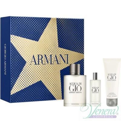 Armani Acqua Di Gio Set (EDT 100ml + EDT 15ml + SG 75ml) pentru Bărbați Seturi Cadou