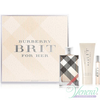 Burberry Brit Set (EDP 100ml + EDP 7.5ml + BL 75ml) pentru Femei Seturi Cadou