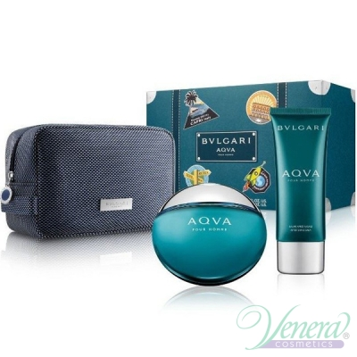 Bvlgari Aqva Pour Homme Set (EDT 100ml + AS Balm 100ml + Bag) pentru Bărbați