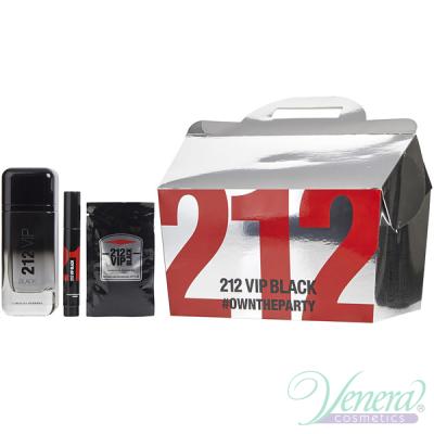 Carolina Herrera 212 VIP Black Set (EDP 100ml + EDP 3ml + 12 x SG 8ml) pentru Bărbați Seturi