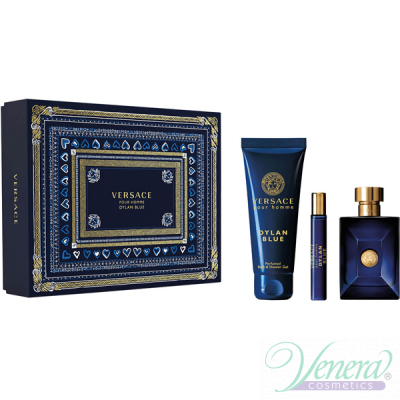 Versace Pour Homme Dylan Blue Set (EDT 100ml + EDT 10ml + SG 150ml) pentru Bărbați